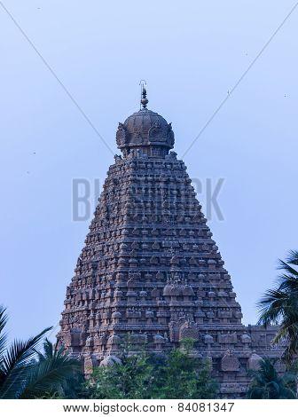 The magnificent chief gopuram / tower of Brahadeewarar temple, Thanjavur captured during evening