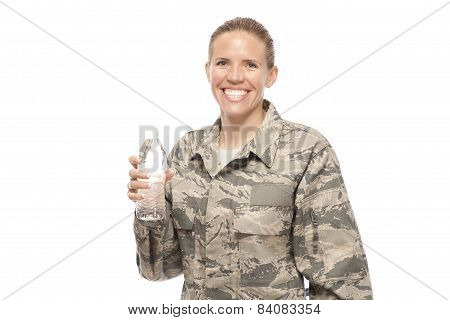 Female Airman With Water Bottle