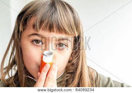 Seven Year Old Girl Breathing Asthmatic Medicine Healthcare Inhaler