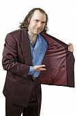 Photo of a sleazy drug dealer showing you what he has in his jacket. Add your own drugs merchandise or whatever your vice my be. poster