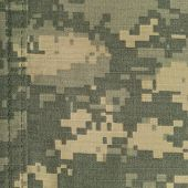 Universal camouflage pattern army combat uniform, digital camo, double thread seam, USA military ACU macro closeup, detailed large rip-stop fabric texture background, foliage green, yellow desert sand, tan urban gray, grey NYCO nylon cotton, textured swat poster