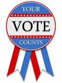 Illustrated red white and blue voting badge poster