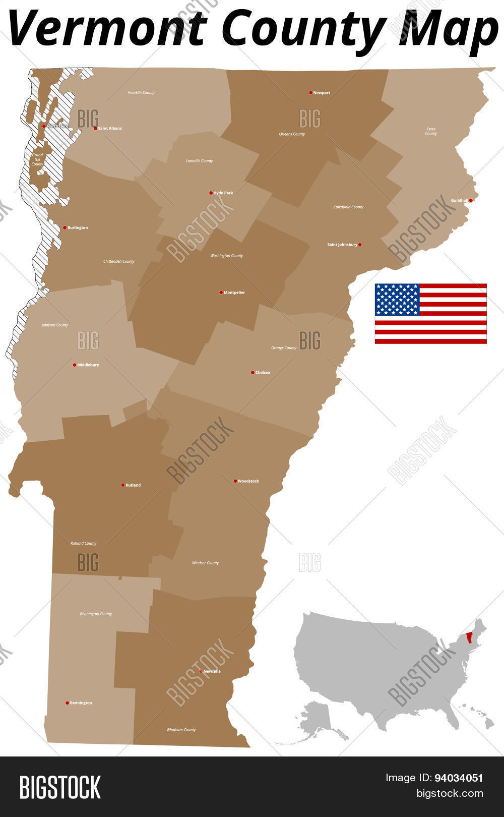 Vermont County Map Vector & Photo (Free Trial) | Bigstock