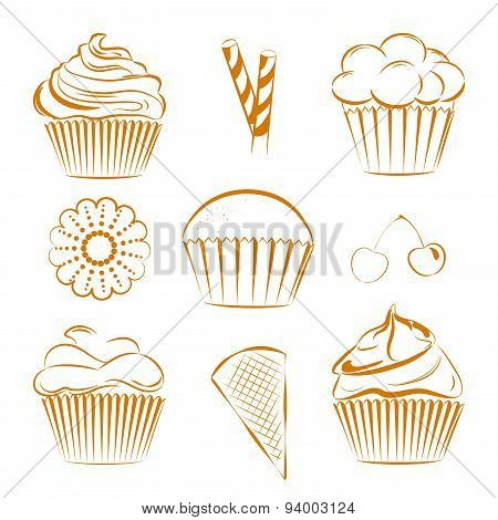 Collection of vector sweets, cupcakes. Outline