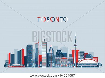 Toronto Canada City Skyline Flat Trendy Vector