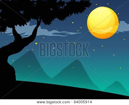 Silhouette scene with tree at night of the fullmoon