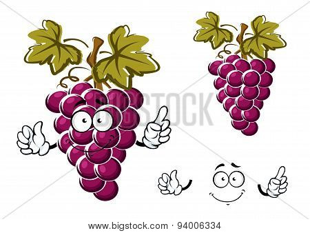Cartoon purple grape fruit character