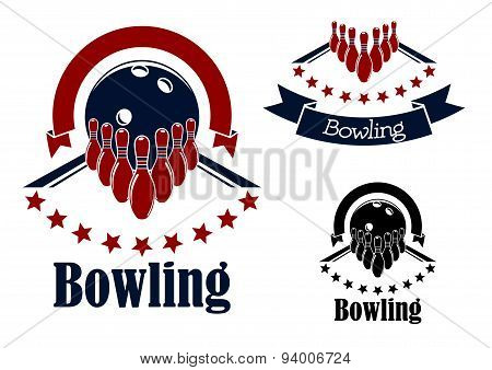 Bowling badges with lanes, balls and ninepins