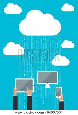 Cloud service concept with connected devices