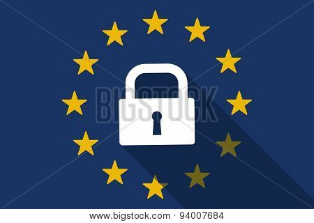 European Union Long Shadow Flag With A Lock Pad