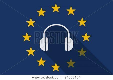 European Union Long Shadow Flag With A Hearphones