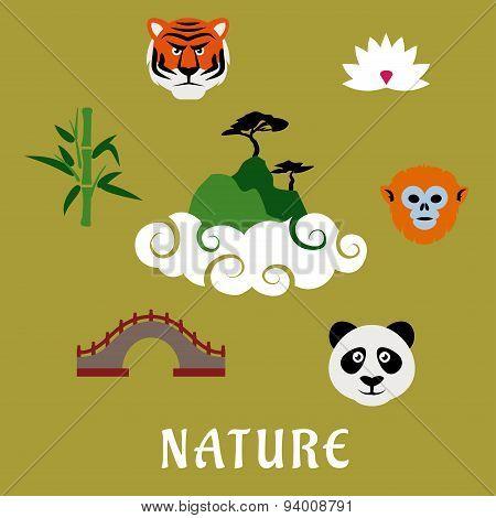 Nature and wildlife China flat icons