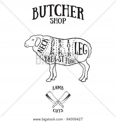 Butcher Cuts Scheme Of Lamb Or Mutton
