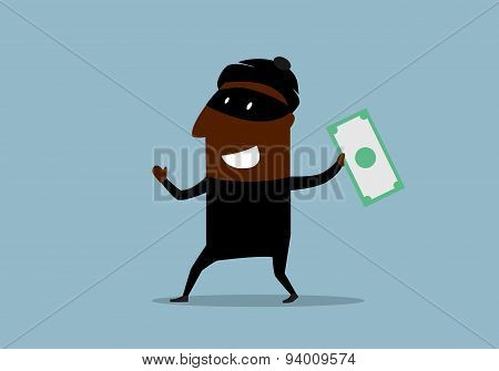 Happy thief with stolen dollar bill