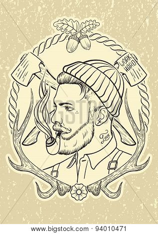 Hand drawn portrait of bearded and tattooed lumberjack with tobacco pipe. poster
