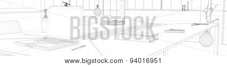 CAD planning with wiremesh frame of office (3D Rendering)