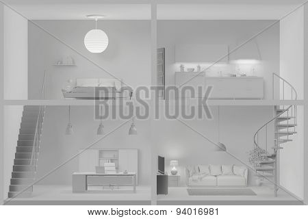 Four different white rooms in a living box (3D Rendering)