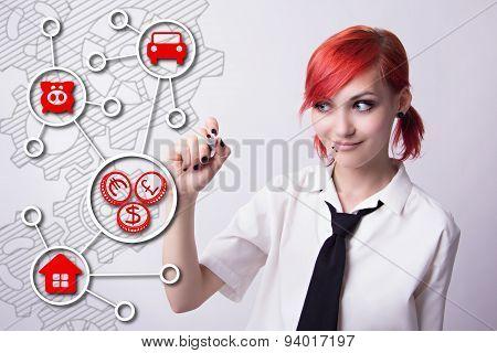 The Girl Draws A Plan Saving Money