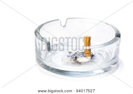 Cigarette Butt In An Ash Tray, Isolated On White