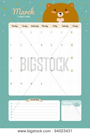 Cute Calendar Template for 2016. Beautiful Diary with Vector Character and Funny Illustrations Animals. Trendy Season Holidays Backgrounds. Good Organizer and Schedule with place for Notes poster