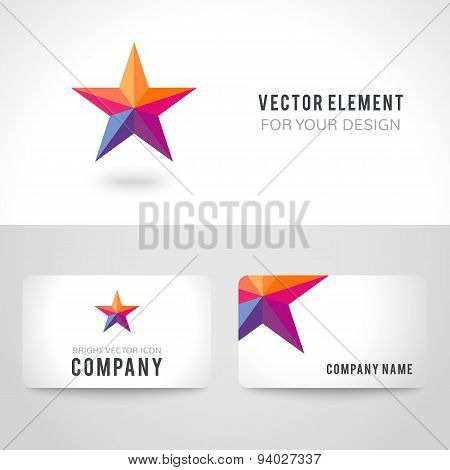 Bright colorful star shape in modern polygonal crystal style