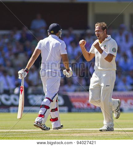 LONDON, ENGLAND - July 19 2013:  Ryan Harris celebrates taking the wicket of Tim Bresnan during day two of the Investec Ashes 2nd test match, at Lords Cricket Ground on July 19, 2013