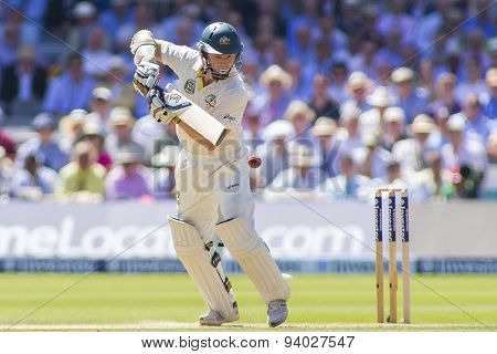 LONDON, ENGLAND - July 19 2013: Chris Rogers plays a shot during day two of the Investec Ashes 2nd test match, at Lords Cricket Ground on July 19, 2013 in London, England.