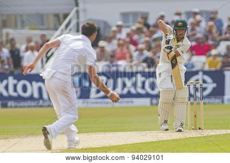 NOTTINGHAM, ENGLAND - July 14, 2013: Ashton Agar plays a shot during day five of the first Investec Ashes Test match at Trent Bridge Cricket Ground on July 14, 2013 in Nottingham, England.