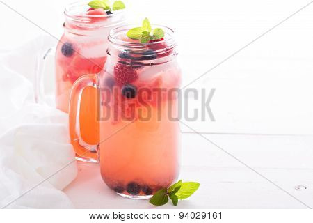 Watermelon lemonade with blueberries