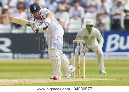 NOTTINGHAM, ENGLAND - July 12, 2013: England's Matt Prior plays a shot during day three of the first Investec Ashes Test match at Trent Bridge Cricket Ground on July 12, 2013 in Nottingham, England.