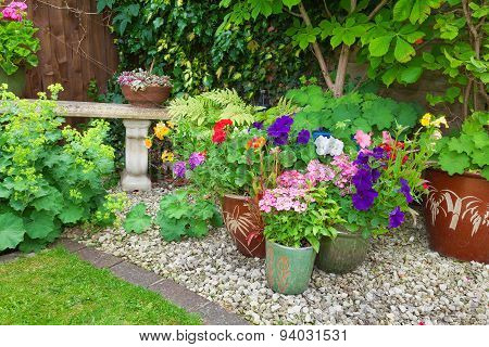 Garden With Containers Full Of Colorful Flowers