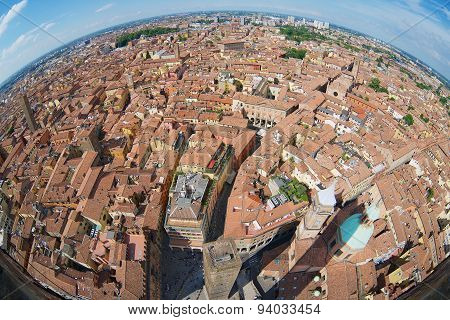 View from the top of Asinelli tower with a fish eye lens to Bologna, Italy.
