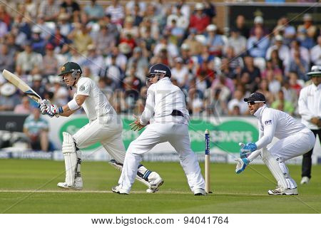 CHESTER LE STREET, ENGLAND - August 11 2013: Brad Haddin Ian Bell and Matt Prior during day three of the Investec Ashes 4th test match at The Emirates Riverside Stadium, on August 11, 2013