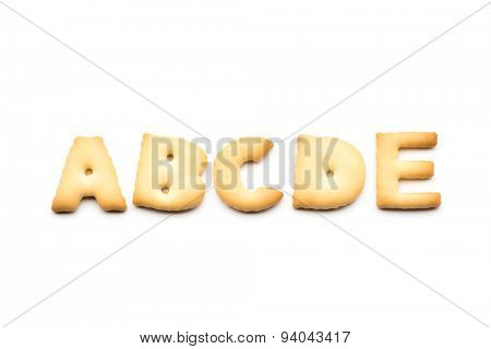 Letter ABCDE cookie isolated on white background