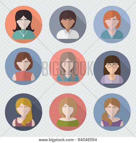 Different female faces in circle icons
