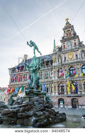 Antwerp, Belgium - May 10, 2015: The Grand Place Of Antwerp, Belgium