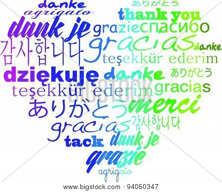 thank you tagcloud many languages heart shape