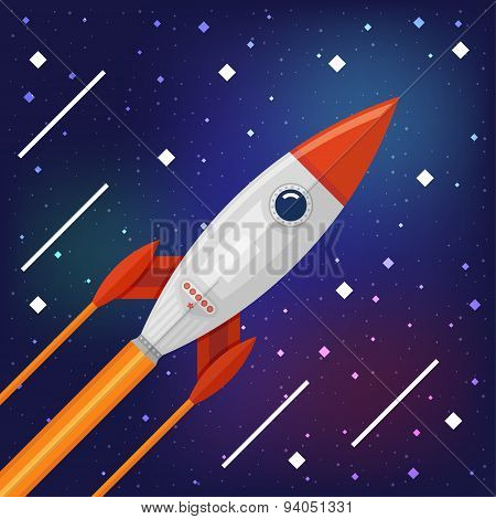 Space rocket flying through the Cosmos