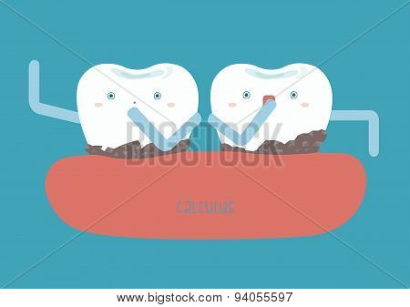 Calculus on teeth make hard of dental poster