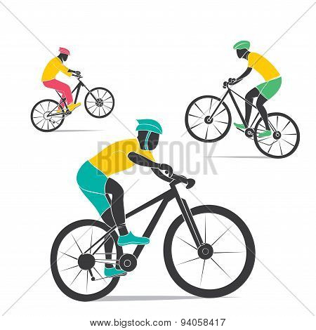 creative mountain cycling player participate in game design vector poster