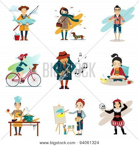 Active lifestyle, Hobbies, healthy lifestyle icons set isolated vector illustration poster