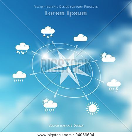 Wind rose and four seasons weather icons on blurred gradient mesh background
