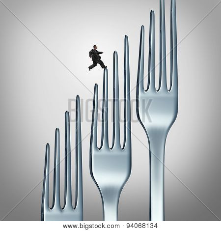Healthy lifestyle challenge and fitness through exercise and eating health food as an overweight obese person running up a group of dinner forks as a symbol and icon of losing wieght with physical training and diet plan. poster
