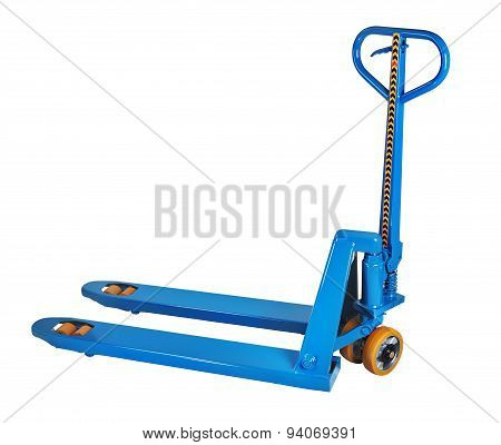 Blue Fork Hand Pallet Truck, Isolated On White Background.
