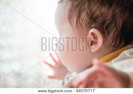 Portrait Of Cute Caucasian Little Baby Girl In Backlight