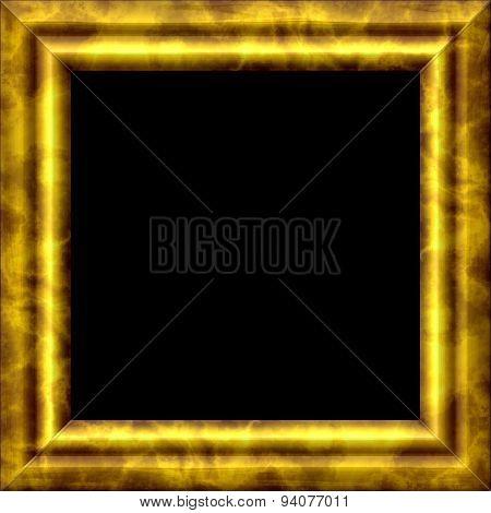 Vintage Golden Metal Or Wooden Frame With Texture