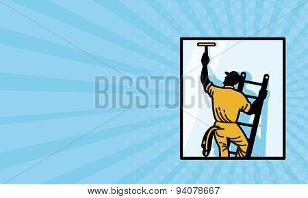 Business Card Window Cleaner Worker Cleaning Ladder Retro