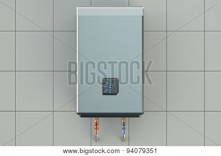automatic electric boiler isolated on white background poster