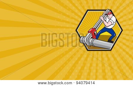 Business card showing iartoon illustration of a plumber worker repairman tradesman with adjustable monkey wrench repairing pipeline tubing pipes set inside hexagon. poster