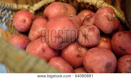 Red New Potato Closeup In Brown Basket, Widescreen